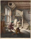 The Painter in His Studio, di Adriaen van Ostade, colorizzato