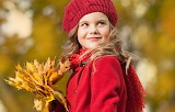 Autumn, look, leaves, smile, blonde, girl, coat, cap