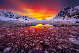 Sunrise in the Lemaire Channel, Antarctica
