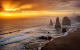 Sunset over Twelve Apostles in Australia HD Wallpaper