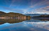 Lake Siskiyou reflects snowy Mount Shasta in northern California