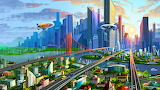 drawn city fantasy scene