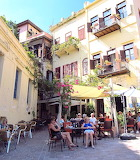 Kafenion in corner of chania harbour