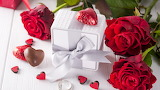 Red roses - flowers - heart - chocolate - gift