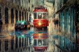 City, street, rain, puddle, cars, transport, tram