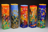 fused glass vases