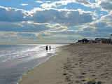 Walking in the surf at Misquamicut, Rhode Island