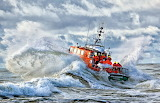 Rescue boat in the stormy sea