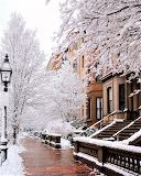 Boston neighborhood in winter