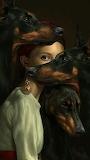 girl+3 dogs dobermans