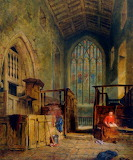 A Church interior with a woman reading Samuel Dukinfield Swarbre