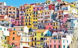 Row of houses coastal Italy