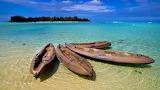 Kyaks on Cook Island Beach South Pacific