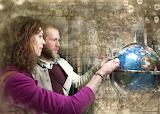 Couple, man, woman, globe, map
