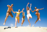 Girl, man, guy, woman, sand, jumping, sand, summer, happiness, l