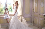 Girl, child, bride, room, window, wedding dress, sunshine, happy