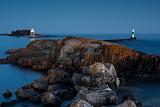 Sunset two lighthouses Lake Superior