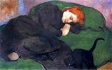 Władysław Ślewiński, Femme endormie au chat, 1896