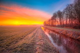 Morning, sunrise, frost, winter, fields, landscape