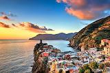 Sunset Village of Veranzza and Coastal Mountains Italy