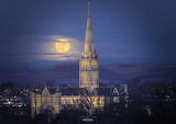 Cold Full Moon, over Salisbury Cathedral, UK