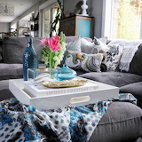 Blue and gray room.