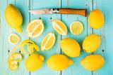lemons on blue table
