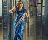 Lady in blue dress