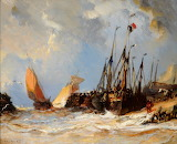 Fishing boats on a beach by Eugene Louis Gabriel Isabey