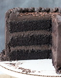 Dark chocolate cake with dark chocolate frosting
