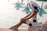 Girl, woman, sun, palm trees, hat, dress, sitting, white, sandal