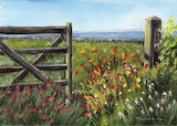 ^ Country Field Flowers Gate Post ~ Janet M Graham