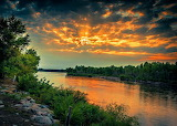 Platte River sunset in Nebraska
