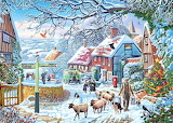 Colours-colorful-village-winter-christmas-tree-painting-puzzle
