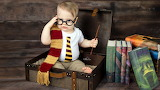 Books, boy, Harry Potter, wand, child, suitcase, glasses