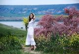 Landscape, flowers, bouquet, hat, white dress, beauty