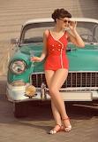 car and girl-retro
