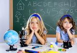 Children, school, globe-board-girls-kids