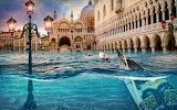 Venice, flooded, artwork, surreal, photo, manipulation