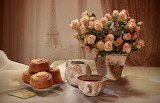 Tea, roses, bouquet, still life, cakes, flowers