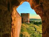 Castle Wall Seen Through Window of Castle