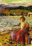 Kochel, Lady Seated by a Lakeside. Wassily Kandinski 1902