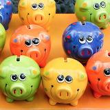 Colorful piggy banks!