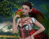 girl, mushroom fantasy