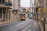 Lisboa tram climbing a hill