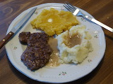 Vinson steak, taters & gravy and baked squash