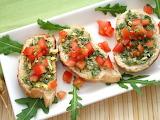 ^ Pesto Tomato Bruschetta