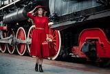 Girl, style, train, engine, platform, suitcase, hat, red dress