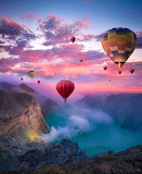 Balloons over Mountains