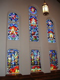 Stained glass windows in Michigan church